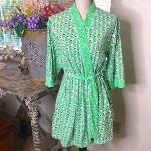 Aria short green and pink wrap cotton robe w/sash